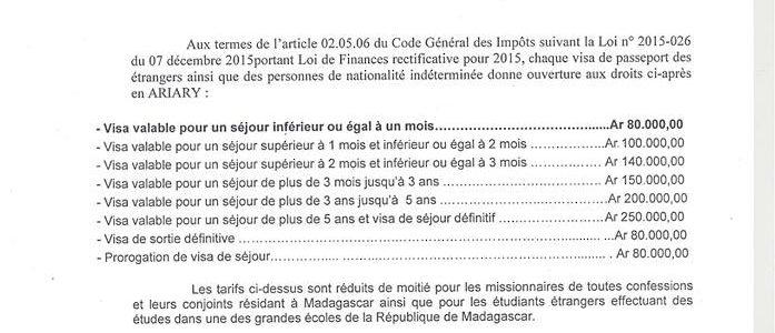 Visa touristique pour Madagascar : les nouveaux tarifs